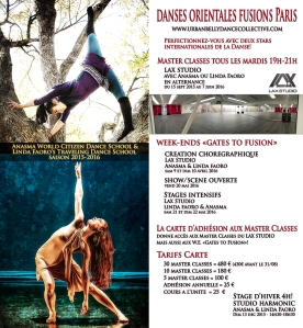 2015-2016 DANSE ORIENTALE FUSION cours master classes  Paris Anasma Linda Faoro